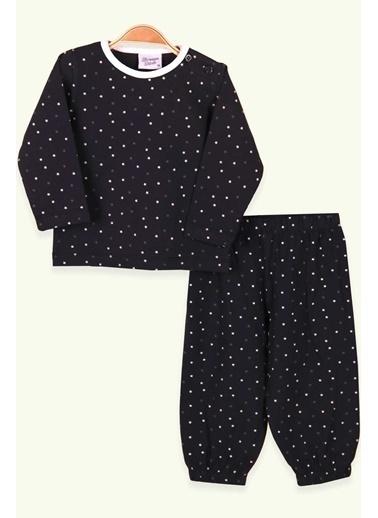 Breeze Kız Bebek Pijama Takımı Yıldız Desenli Antrasit (9 Ay-1.5 Yaş) Antrasit